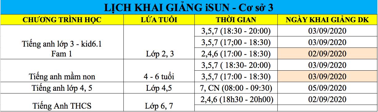 Lịch khai giảng tháng 9 - Ngoại ngữ iSUN Quảng Ngãi